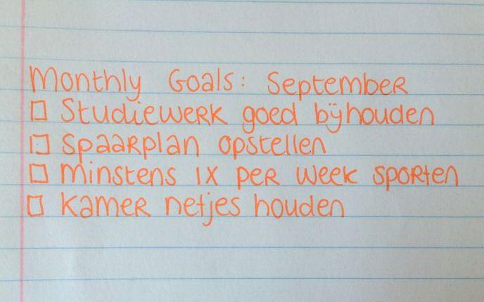 monthly goals september 2015
