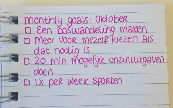 monthly goals oktober 2015